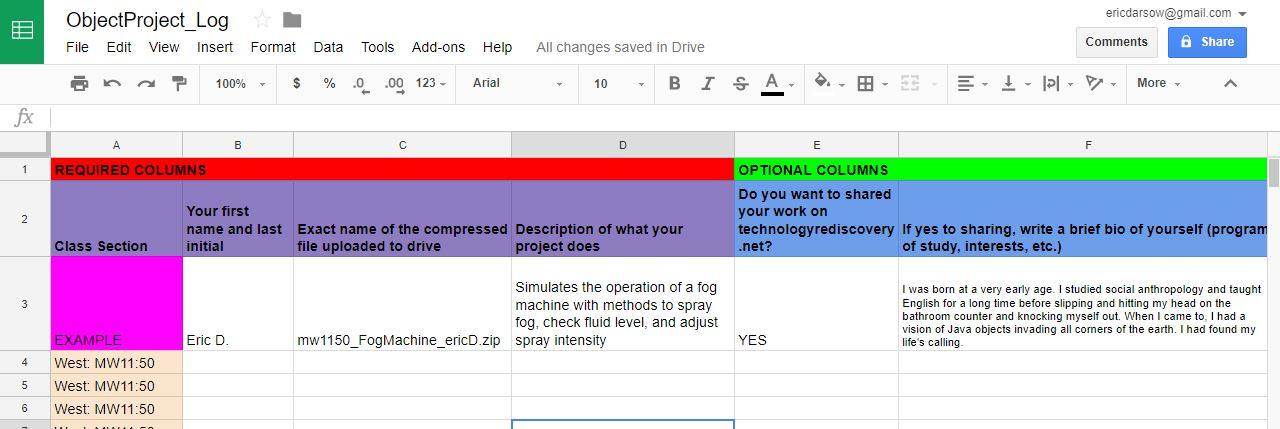 how to make a log in google drive
